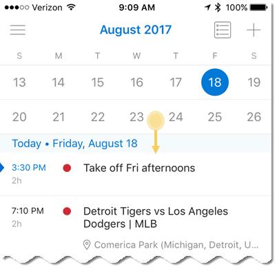 View 2 weeks in the calendar