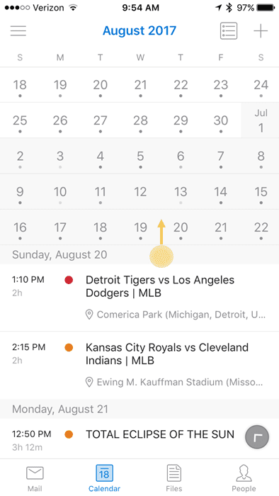 View Outlook app's Calendar in monthly view?