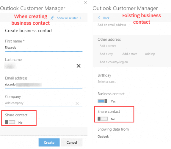 share business contacts