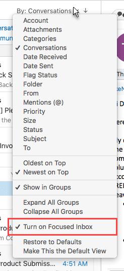 The menu on mac outlook