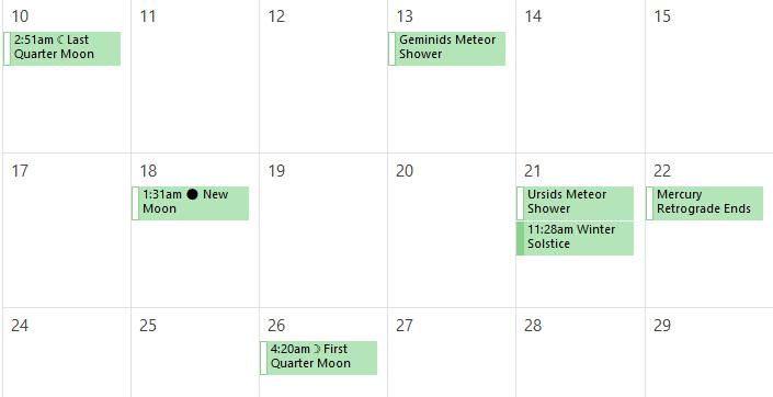 Add Lunar, Sunrise, Tidal, and Weather Calendars