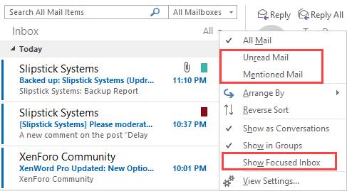 Focused inbox is turned off