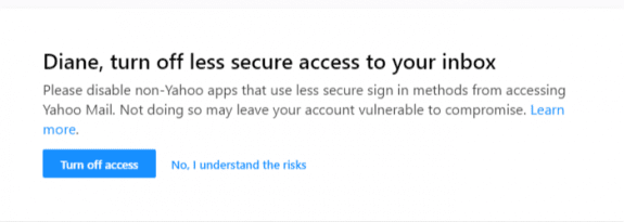 yahoo less secure app warning