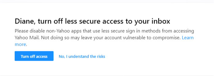 Less Secure Login Warnings
