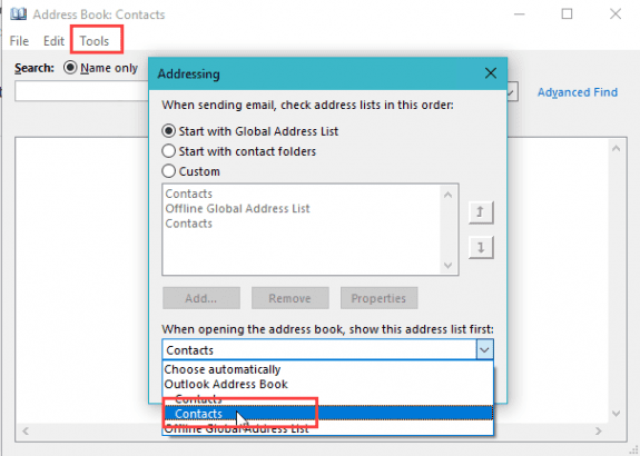 choose the correct contacts folder
