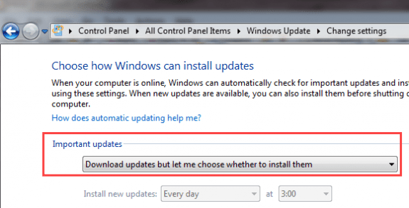 choose to install updates