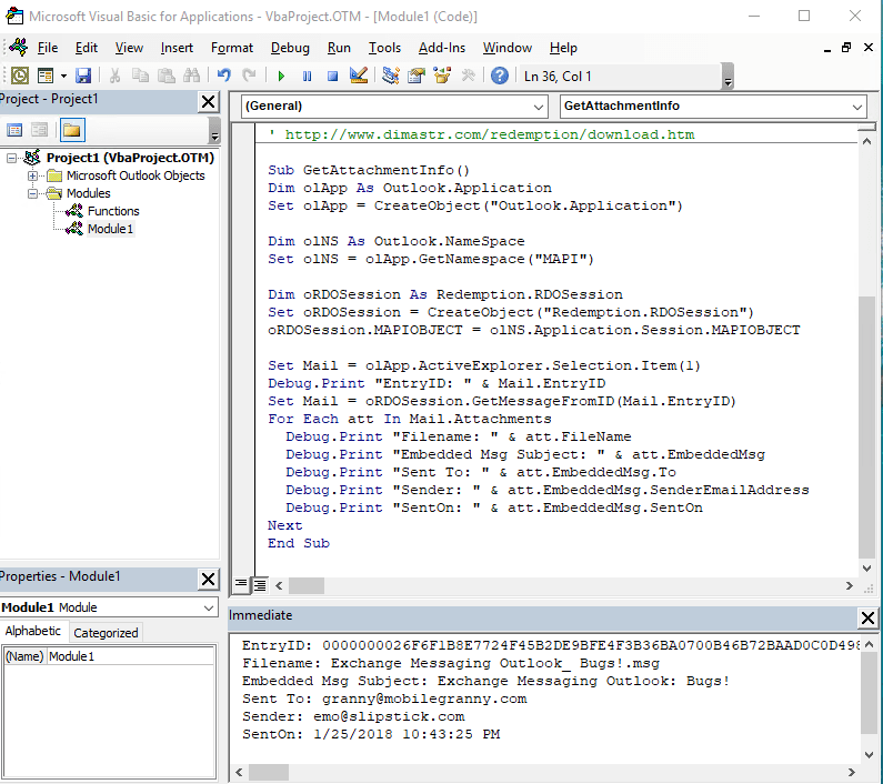 Use VBA to read fields in attached messages