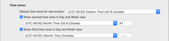 add 3 time zones to Outlook for Mac