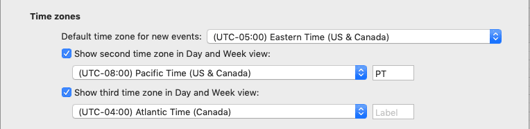 Multiple Time Zone Display in Outlook for Mac