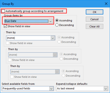 disable automatic grouping