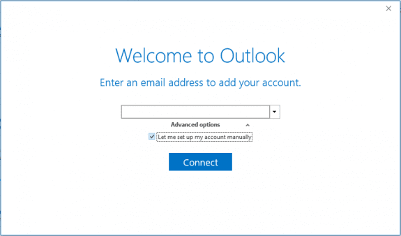 the simple account setup dialog