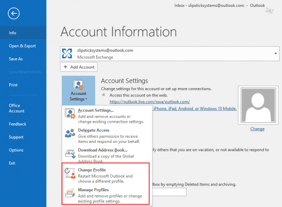 change profiles in outlook