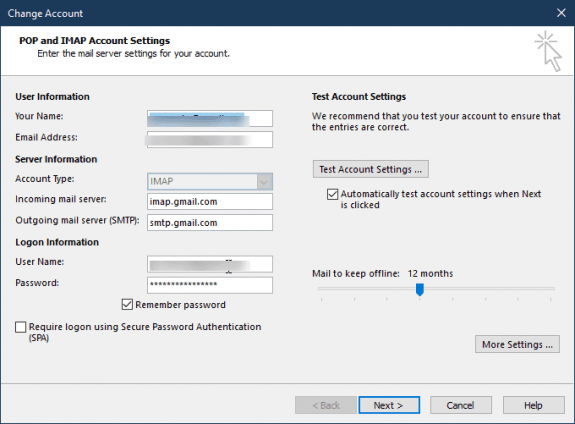 Change your Password and Server Settings in Outlook 2016
