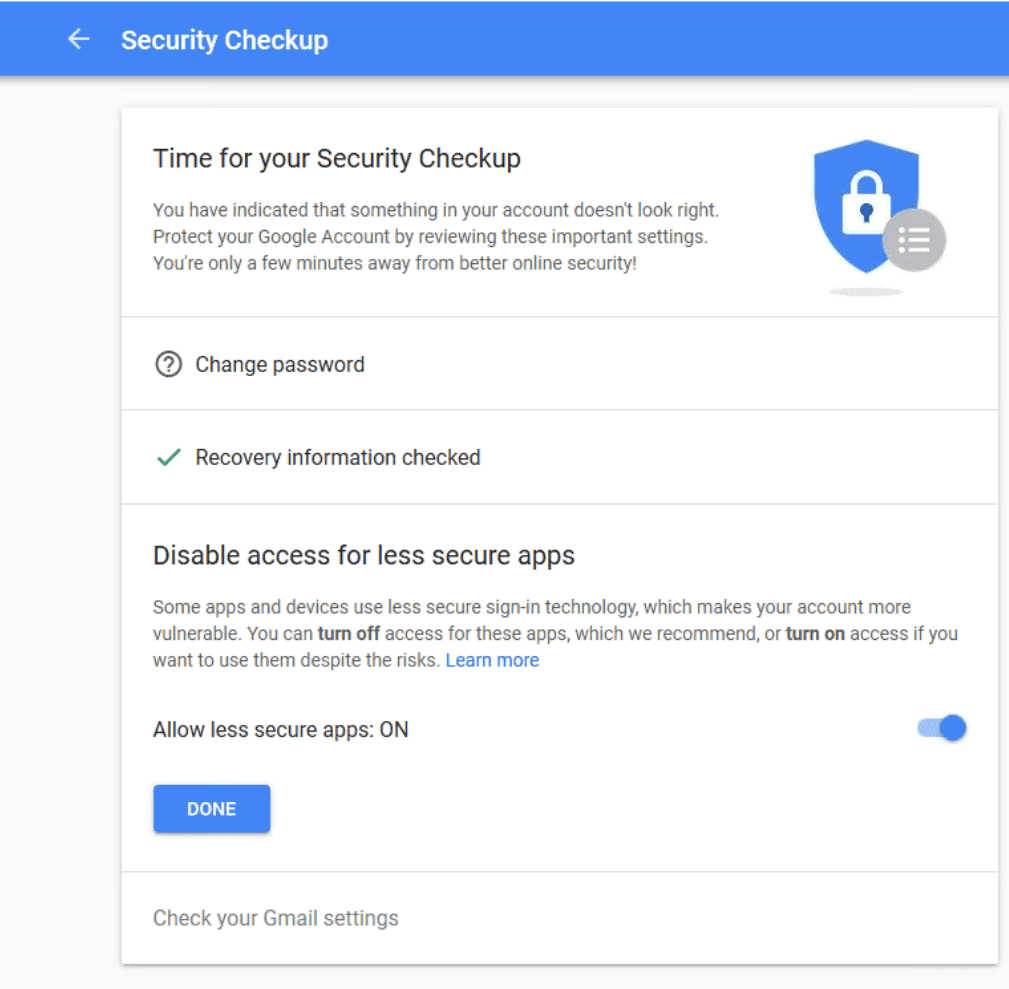 Outlook and Gmail's Less Secure Apps Setting