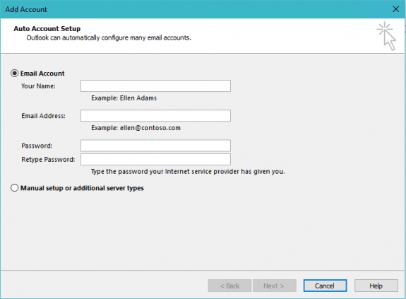 the old account setup dialog