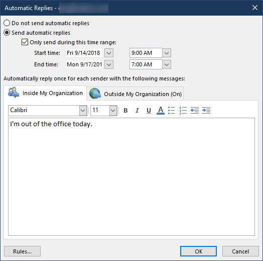the automatic reply UI shows the changes made using powershell