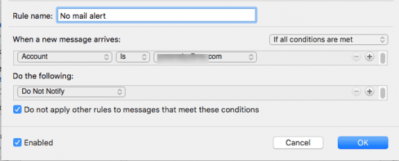 disable alerts for an account in Outlook for Mac