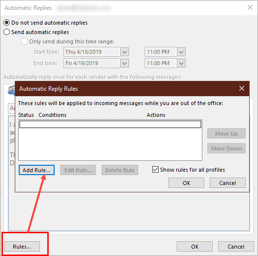 Use Automatic reply rules without sending an Out of Office