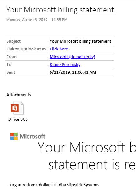 Using Outlook's Send to OneNote button