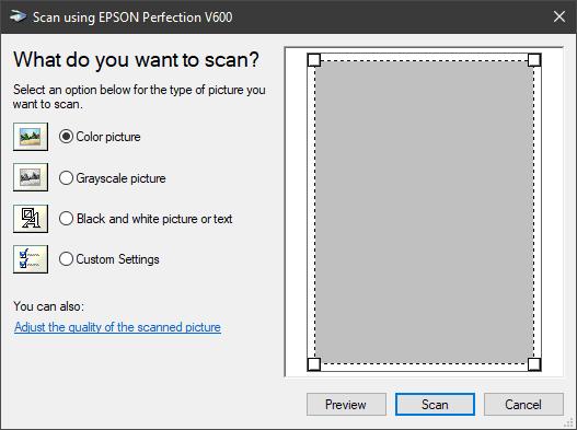 scanner options dialog