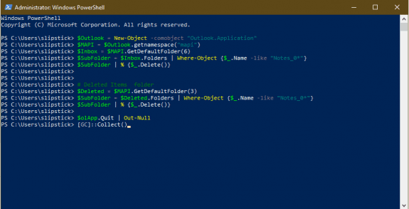 paste the powershell in the window