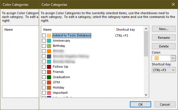 Color Categories before and after importing