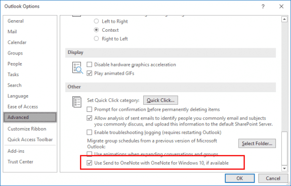 disable the onenote add-in in Outlook options