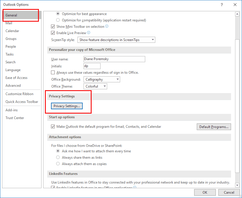 The Help function is disabled in Office apps