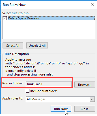 Select rules to run on selected folder