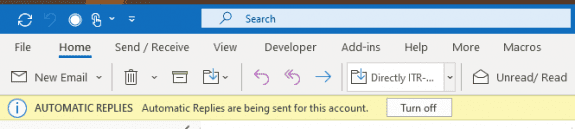 Outlook reminds you that out of office is on