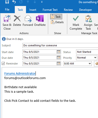 contact info added to task