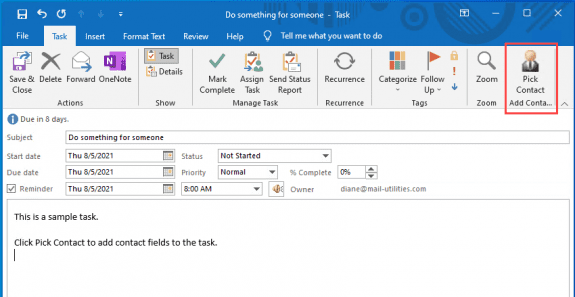 click a button to add contact info to a task