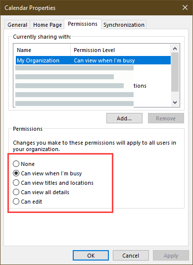 outlook's permissions dialog