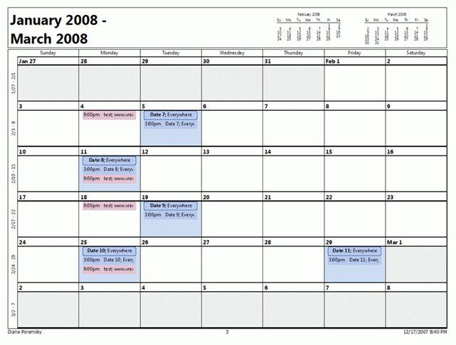 Outlook 2007: Month Calendar Printing Bug