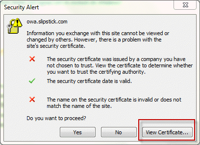 The security certificate is not from a trusted authority
