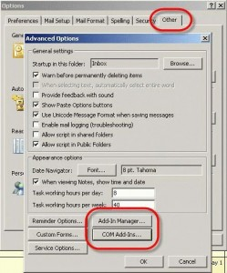 Options dialog in Outlook 2003 and older