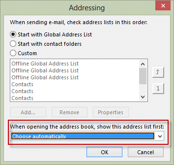 Change address book order in outlook 2010 and 2013