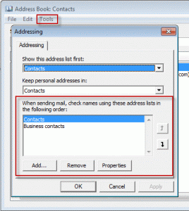 Change the address book sort order in Address Book options
