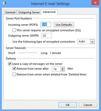 Advanced tab Outlook 2013