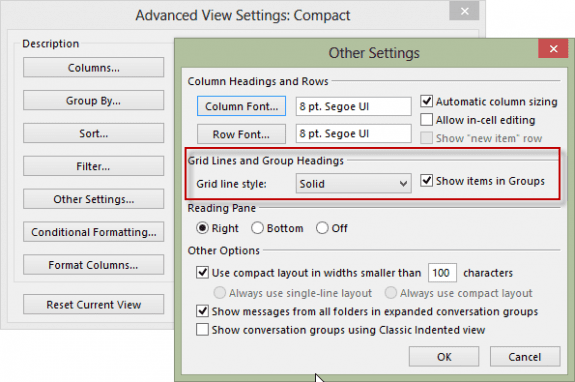 Advanced view settings for Grid lines