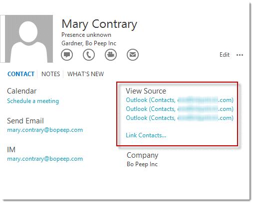 Contact card links