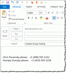 Create a list of contact group members and their phone numbers