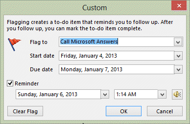 Set a custom flag for followup
