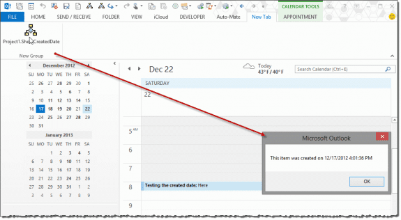 View the created date of any Outlook item