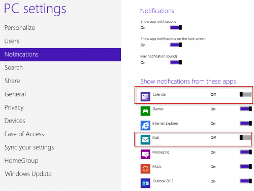 Disable Notifications in Windows 8