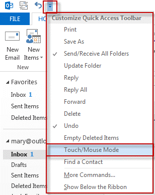 Select Touch/Mouse to enable the menu