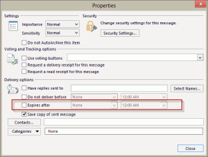 Set an expiration date on messages in the options dialog