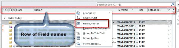 Fields names in Outlook folders