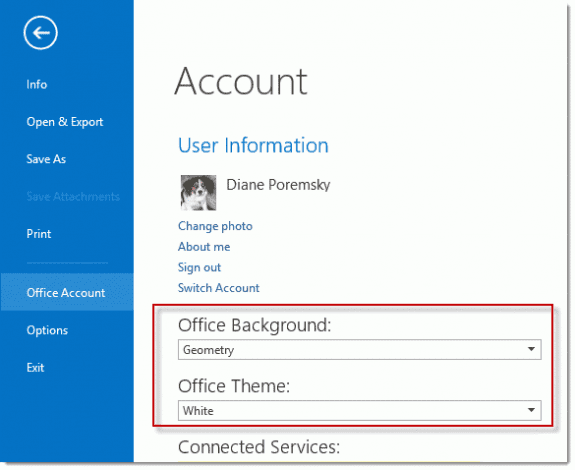 Change the color and backgroup in File, Office Account