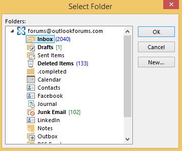 Open Outlook's Folder Picker